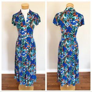 J. Crew Tropical Floral Print Maxi Shirtdress XXS